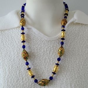 Murano Gold Foil anf bead Necklace